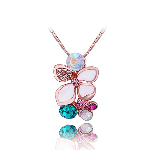 Womens Fashion Flower Pendant Necklace Rose Gold Plated Inlay Cubic Zirconia - Annie J. Bunch ()
