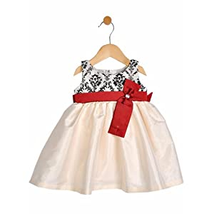ivory party dress, black & red, 5-6 y
