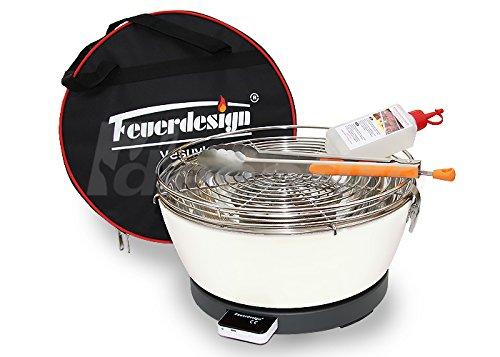 Rauchfreier Holzkohle Tischgrill VESUVIO v. Feuerdesign – Cremeweiss, im Spar Pack mit Grill-Zubehör online kaufen