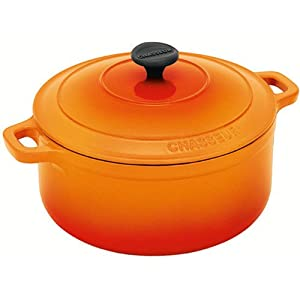 Chasseur Cast Iron 3722OR French Casserole with Lid, Orange Flame by CHASSEUR CAST IRON