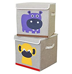 Canvas Collapsible Storage Bins (2-Pack) With Attached Lids - Monkey & Hippo Design by Zoomy Baby - Sturdy Organizers - Fits Many Cube Storage & Shelving Units - Ideal For Nursery