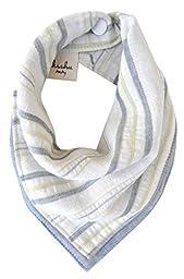 kishu baby Organic Bandana Bib Reversible Sage Gray Stripe, Multicolor, One Size