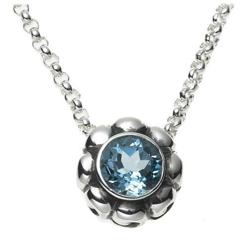 blue topaz stone pretty flower pendant