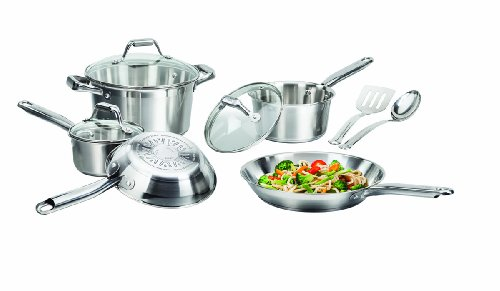 T-fal C811SA Elegance Stainless Steel Cookware Set, 10-Piece, Silver (T Fal Cookware 10 Piece compare prices)