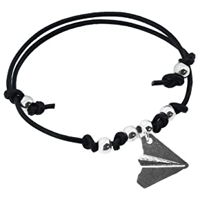 Black Leather Stainless Steel Harry Style Paper Airplane Bracelet, One Direction Bracelet Airplane by Hinky Imports