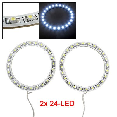 Amico White 2 X 80Mm Angel Eyes 24 Smd Led Ring Car Light Headlight