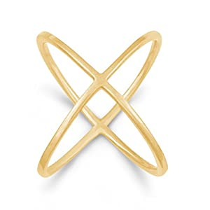"""Sterling Silver Gold-Plated """"X"""" Criss-Cross Long Ring (Size 8) from Beaux Bijoux"""