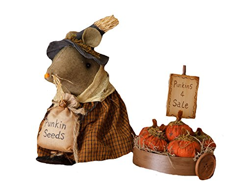 Your Hearts Delight Pumpkin Harvest Cart Mouse Decor, 8-Inch