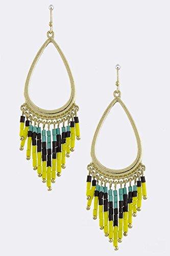 Karmas Canvas Tribal Bead Fringe Earrings (Black/Yellow) front-1072554