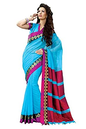 ISHIN Cotton Blue Saree available at Amazon for Rs.3599