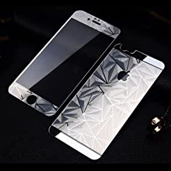Premium 3D Diamond Pattern Mirror Front + Back Tempered Glass Screen Protector for Apple Iphone 4/4S SilVer