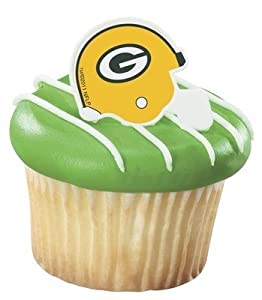 NFL Green Bay Packers Football Helmet Cupcake Rings - 12 pc