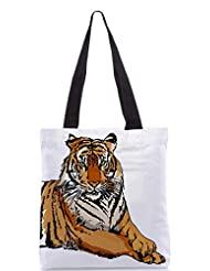 Snoogg Sketch Of White Tiger Vector Illustration Designer Poly Canvas Tote Bag - B012FZEKNK