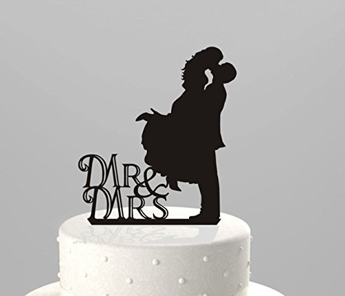 Mr And Mrs Cake Topper Black