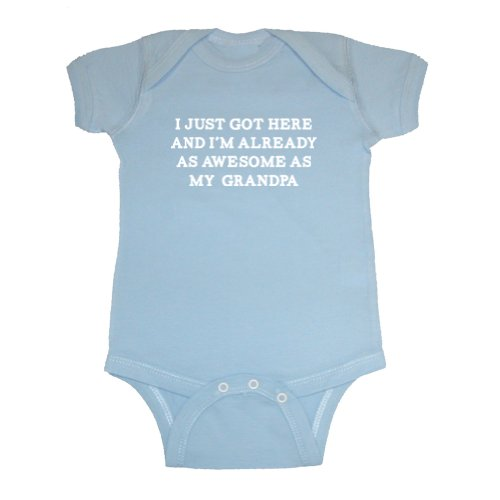 So Relative! Unisex Baby Already As Awesome As My Grandpa Bodysuit (Light Blue, 6 Months) front-633589