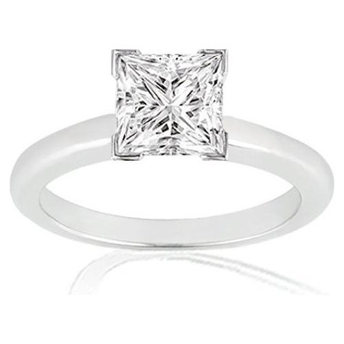 Where Can I Buy Near 1/2 Carat Princess Cut Diamond Solitaire Engagement Ring 14K White Gold V Prong (J, VS1-VS2, 0.45 c.t.w) Very Good Cut