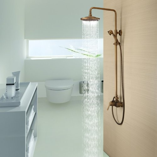 Lightinthebox Antique Inspired Solid Brass Bathroom Fixtures Bath Shower Faucet with 8 Inch Shower Head Handheld Shower Head Bronze Shower Holder and Arms Rainfall Shower Head Lavatory Roman Tub Faucets Plumbing Fixtures Shower Faucets