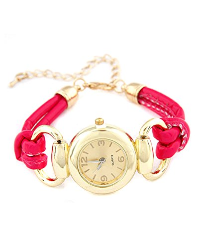 Young & Forever Valentine Special Luxury Fusia Pink Tone Bracelet Watch For Women by CrazeeMania