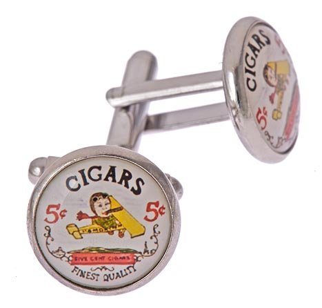 JJ Weston silver plated 5 cent cigar cufflinks with presentation box. Made in the U.S.A