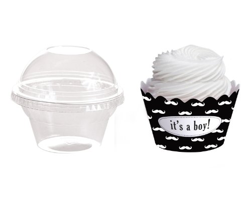 Dress My Cupcake Personalized Favor Dome Containers With Wrappers Diy Kit, Mustache, It'S A Boy, Set Of 25 front-156535