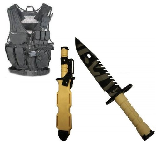 Ultimate Arms Gear Stealth Black Lightweight Edition Tactical Scenario Military-Hunting Assault Vest W/ Right Handed Quick Draw Pistol Holster + Tan Special Forces Series M9 M-9 Military Sawback Survival Tigerstripe Tiger Stripe Blade Bayonet Knife With T