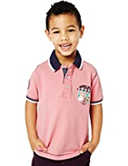Pure Cotton Badge Polo Shirt