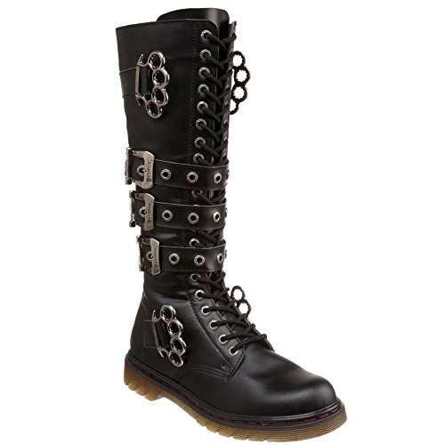 DEMONIA DISORDER-402 Men 20 Eyelet Brass Knuckles-Chain Knee High Combat Boot
