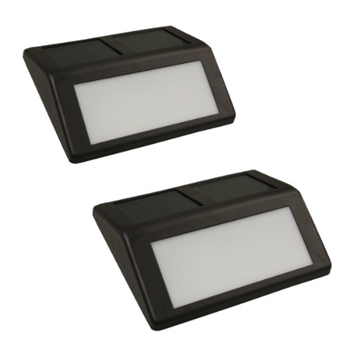 (2 Pack) Solar Powered Led Coffee Brown Wall Large Step Lights