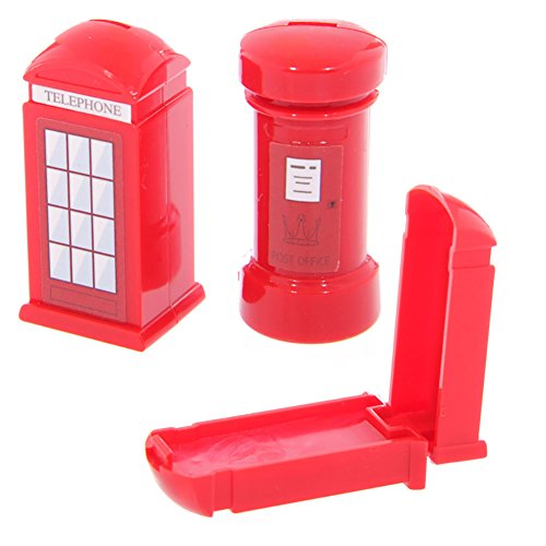 Fun lip gloss in red post box & telephone box holders