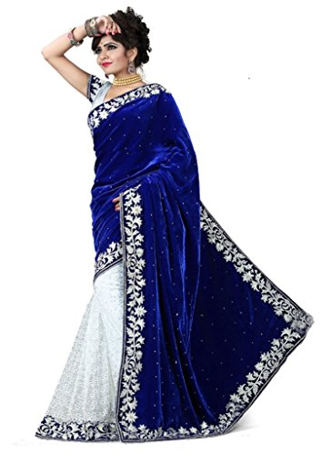 Yogeshvar Creation Velvet Embriodered Blue Sarees