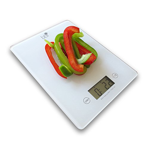 bbi Digital Kitchen Food Scale – Premium Food Scale Precisely Measures Grams, Ounces, AND Fluid Ounces-PLUS Free Measurement Cheat Sheet-Perfect For Portion Control-Features Tare Function, Accurate Measurement , Easy To View Digital Display, Strong Tempered Glass–PLUS 2 Great Bonuses! Satisfaction 100% Guaranteed Or Money Back!