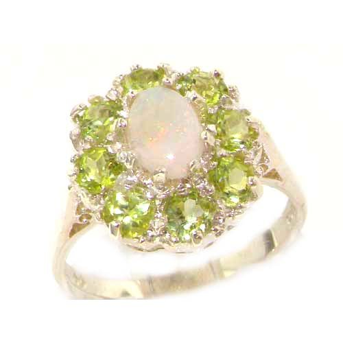 Luxury Ladies Solid 14K White Gold Natural Opal & Peridot Large Cluster Ring - Size 6.25 - Finger Sizes 5 to 12 Available