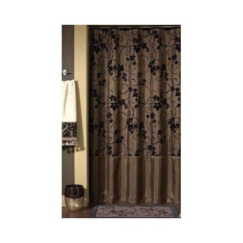 ... Eden / Ivy Cartouche Chocolate Brown Shower Curtain Flocked Velvet