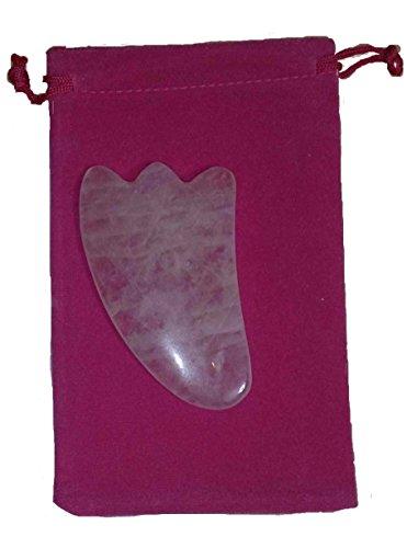天然石 かっさプレート ローズクォーツ製 羽型 巾着袋付き