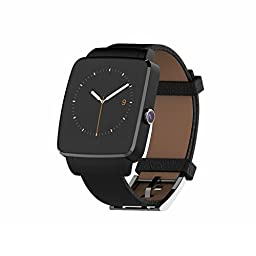 Bluetooth Smart Watch OUMAX S6 Edge for Android Smart Phones (Full Function Support for Android 4.3 to Android 6.0) - IPS Display/Black/Curved Screen/Replacement Premium Leather Strap