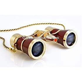 Milana Optics - Opera Glasses - Renaissance - With Chain and Flashlight - Burgundy Finish with Golden Rings