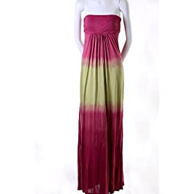 Lani Tie Dye Strapless Ruched Empire Waist Tube Jersey Long Slim Maxi Dress