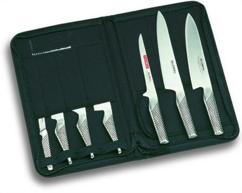 Global 7 Piece Knife Set  &  Case - 7 piece set including cooks knife, carving knife, hollow handle vegetable chopper, hollow handle peeling knife and more.