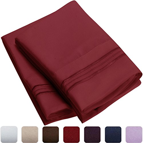 Mellanni-Luxury-Pillowcase-Set-HIGHEST-QUALITY-Brushed-Microfiber-1800-Bedding-Wrinkle-Fade-Stain-Resistant-Hypoallergenic-Set-of-2-Standard-Size-Burgundy