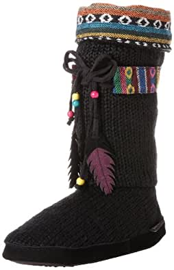 Muk Luks Women's Jasmine Tall Slipper Boot, Black, Small 5-6