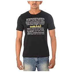 Chennai Gaga Men's Round Neck Cotton T-shirt Vanakkam 112-3-805-Black-S