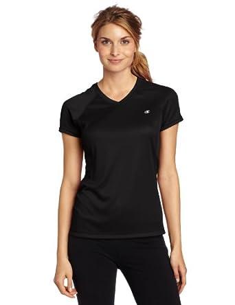 Champion Double Dry Training V-Neck Women's T Shirt, XS-Black