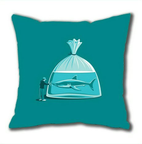 Sakuraelieechyan Shark In A Plastic Bag Cotton Square Pillow Case front-605791