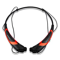 Rymemo 2016 Newest Universal Wireless Bluetooth 4.1 Music Stereo Sports Headset Headphones Vibration Neckband Style for Cellphone (Orange-black)