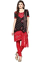 Soundarya Ethnicwear Cotton Bandhej Suit Dress Material for Women (BS1)
