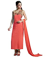 Shopping Point Orange Cotton Anarkali Unstitched Dress Material