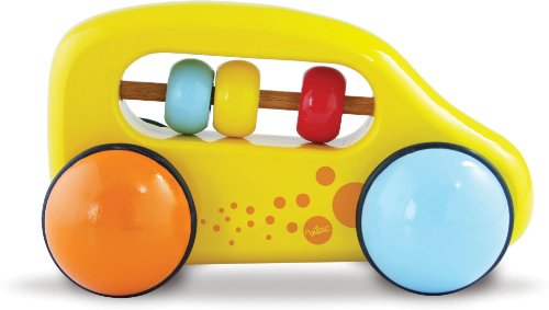 Vilac Push and Pull Baby Toy Abacus Car, Yellow