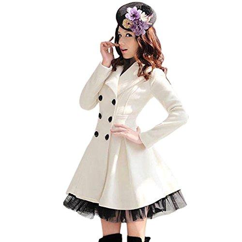 PanDaDa Women's Slim Peacoat Long Dress Double Breasted Trench Coat White Me...