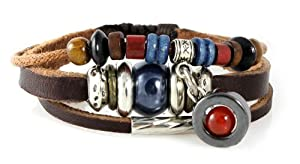 Durango Leather Zen Bracelet, Multi-strand with Orange Bead Drop for Men, Women, Teenager, Boy and Girl, 5 to 7 Inch Wristband in Gift Box