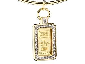 Yves Camani Feingold-Barren Credit Suisse Anhänger 1 Gramm pures Gold 999